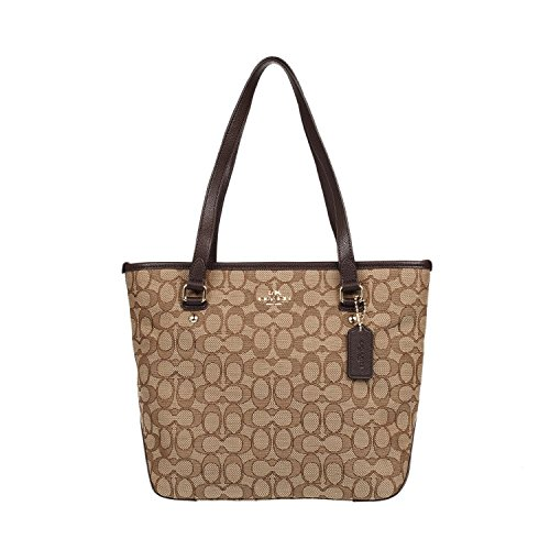 Coach Handbag Coach Purse (Coach Outline Signature Zip Top Tote Shoulder Bag)