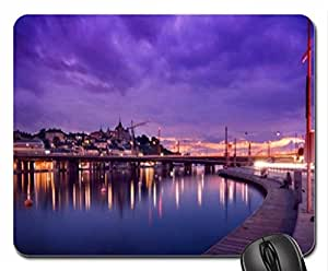 stolkholm sweden in purple light mouse pad