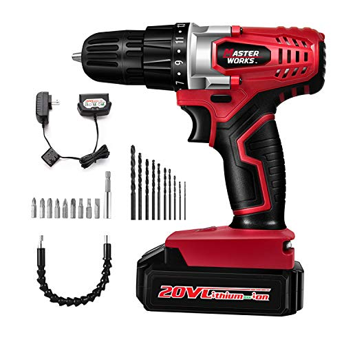 20V Cordless Drill, Power Drill Set with 3/8