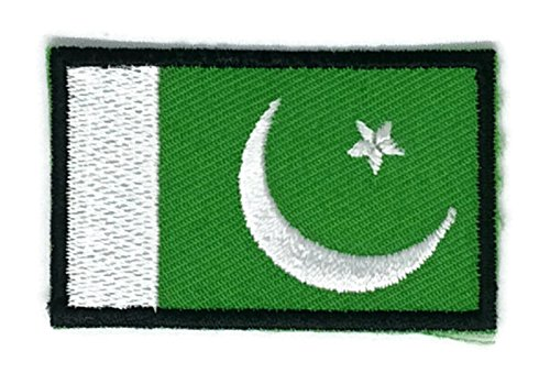 2 x 1.3 inches Pakistan Flag Patch Sew Iron on Embroidered Badge Symbol - Shopping Websites Pakistan