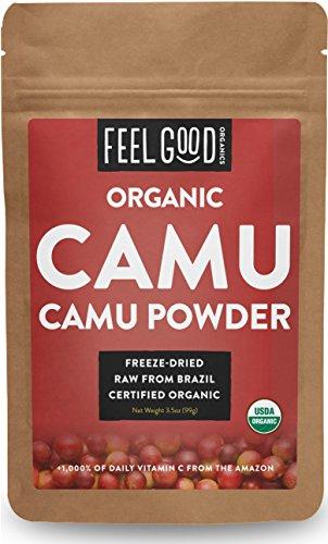 Organic Camu Camu Powder - 3.5oz Resealable Bag - 100% Raw From Brazil - by Feel Good (Camu Powder)