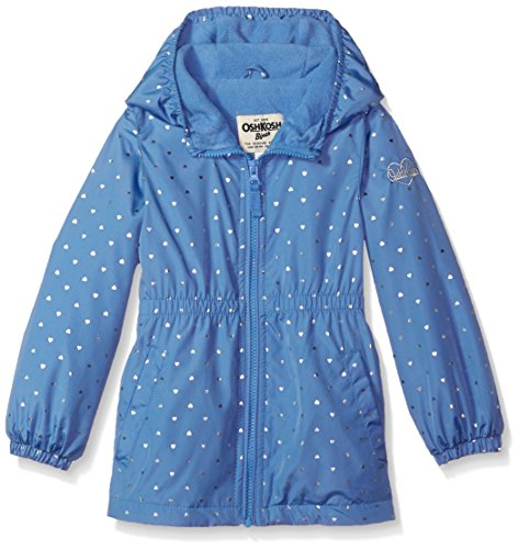 Osh Kosh Toddler Girls' Fleece Lined Midweight Windbreaker Jacket, Indigo Foil Hearts, 4T (Oshkosh Heart)