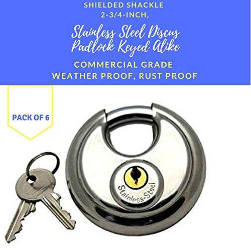 Pack of 6, Stainless Steel Discus Padlocks Keyed Alike 70mm Round Disc Padlock with Shielded Shackle, 2-3/4-inch, Stainless Steel Round Disc Storage Pad Locks All the same key Commercial Grade (6)