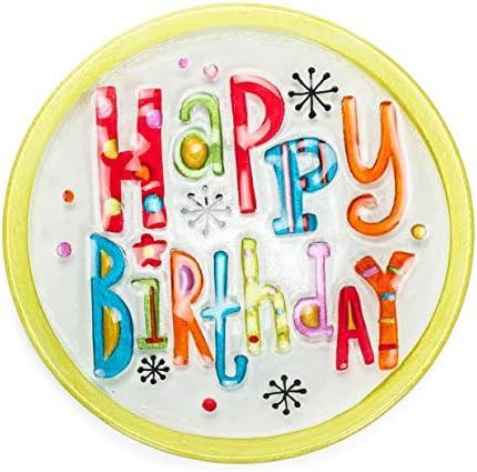 Happy Birthday Round Green Multicolored 11 x 11 Vibrant Glass Accent Plate