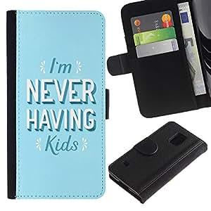 KingStore / Leather Etui en cuir / Samsung Galaxy S5 V SM-G900 / Nunca tener hijos Quote Feminismo Mujeres