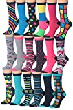 Tipi Toe Women's 18-Pairs Value Pack Colorful Crazy Funky Fashion Crew Socks, (Sock Size 9-11) Fits Shoe Size 5-9, WC28-WC37-B