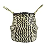 YCDC l Seagrass Woven Tote Belly BasketHome Planter, Handmade Decorative Flowerpot, Garden Pot Craft Large Seagrass Tote Belly Basket Foldable Toy Storage Organizer Home Planter
