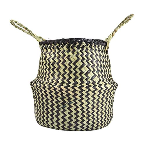 YCDC l Seagrass Woven Tote Belly BasketHome Planter, Handmade Decorative Flowerpot, Garden Pot Craft Large Seagrass Tote Belly Basket Foldable Toy Storage Organizer Home Planter by YCDC