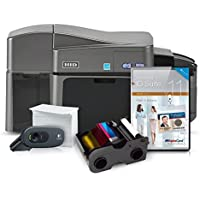 Fargo DTC 1250e Duo ID Card Printer System with ribbon, cards, camera, cleaning kit, and Alphacard ID Suite basic software (PC)