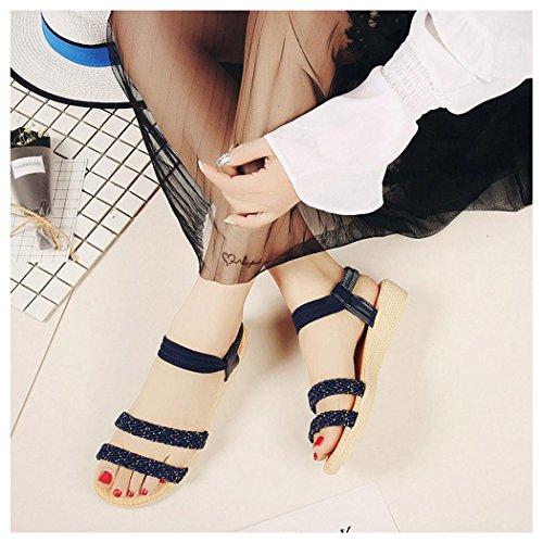 Summer Sandals, Inkach Women Flat Shoes Soild Bohemia Sandals Peep-Toe Outdoor Shoes Navy