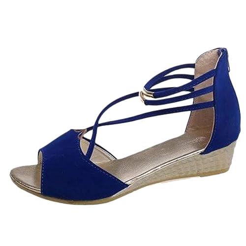 nuevo concepto ae8ee 0e367 Sandalias con Punta Abierta Mujer Zapatos Tacón Bajo Cómodo ...