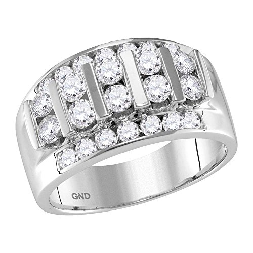14kt White Gold Mens Round Channel-set Diamond Striped Wedding Band Ring 2.00 Cttw