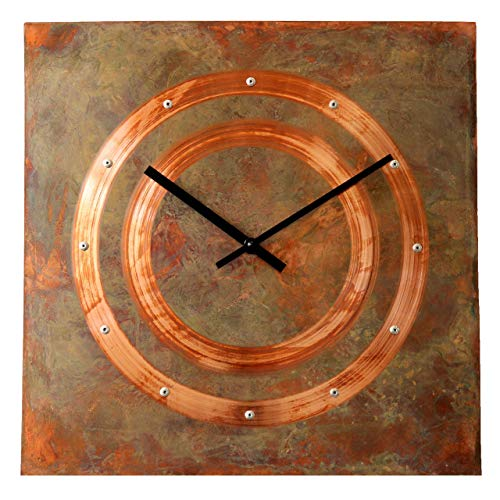 Patinated Copper Rustic Square Large Wall Clock 16-inch - Silent Non Ticking Gift for Home/Office/Kitchen/Bedroom/Living Room