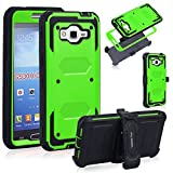Anyshock Heavy Duty Shockproof Durable Full Body Protection Rigged Hybrid Case with belt clip holster and Kickstand for Samsung Grand Prime G530H/G5306W(Free Screen Protector Included)(Green)