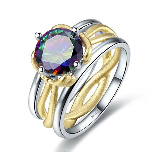 Jrose 925 Sterling Silver Created Rainbow Mystic Topaz 2 Tone Bow Wedding Ring for - Topaz Bow