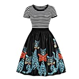 Wellwits Women's Sailor Striped Top Cats Print Tea Party Vintage Swing Dress 4XL