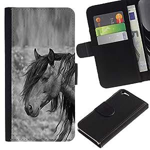 KLONGSHOP // Tirón de la caja Cartera de cuero con ranuras para tarjetas - pony melena gris animales negro - Apple Iphone 6 //