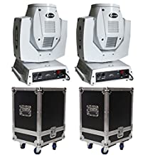 YISCOR Stage Light 2units 230W Osram 7R BEAM Spot Moving Head Touch Screen DMX512 White Housing Lighting With Two Hard Cases for Party DJ Shows Bars Club KTV