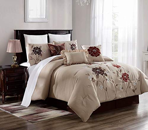 7 Piece Luxury Comforter/Bedding Set with Cushion, Shams, and Bedskirt (California King, Burgundy Lotus Flower)