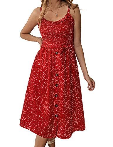 (Yxiuexur Womens Summer Dresses Girls Casual Floral Beach Spaghetti Strap Boho Dress Button Down Swing Midi Dress Red S)