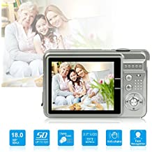 HD Mini Digital Camera with 2.7 Inch TFT LCD Display,Kids Childrens Point and Shoot Digital Video Cameras Silver--Sports,Travel,Holiday,Birthday Presen