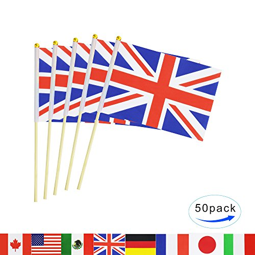 tick Flag,50 Pack Hand Held Small United Kingdom UK Flag Mini British Great Britain Flag With Wood Pole,International Countries World Flags Banner On Sticks For Party Decorations (Union Flag)