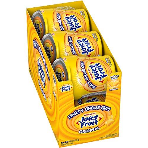 JUICY FRUIT Sugar Free Chewing Gum, Fruity Chews Original, 40 Piece Bottle (6 Pack)
