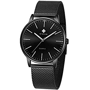 Simple Slim Mens Watch Analog Quartz Waterproof Stainless Steel Mesh Band Thin Black Casual Dress Wrist Watches for Men