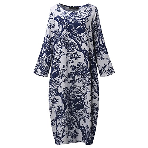 SIMSHION Womens Plus Size Loose Floral Print Kaftan Vintage Maxi Long Dress With Sleeve White 4XL