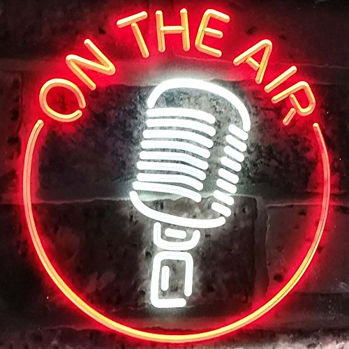 AdvpPro 2C On The Air Microphone Studio Recording Signal Dual Color LED Neon Sign White & Red 12' x 8.5' st6s32-m2028-wr