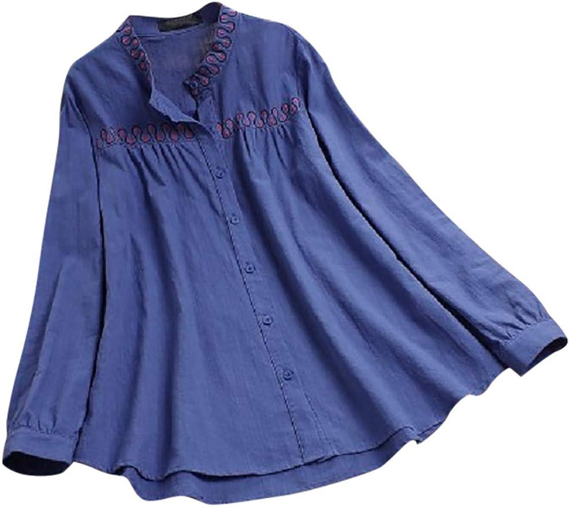 TUDUZ Blusa De Manga Larga para Mujer Camisa con Botones Bordados Mezcla De Algodón Top Suelto (Azul, M): Amazon.es: Ropa y accesorios