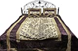 Five-Piece Banarasi Bedspread with Woven Flowers All-Over and Brocaded Border - Art Silk with Pillow - Color Champagne Beige Color