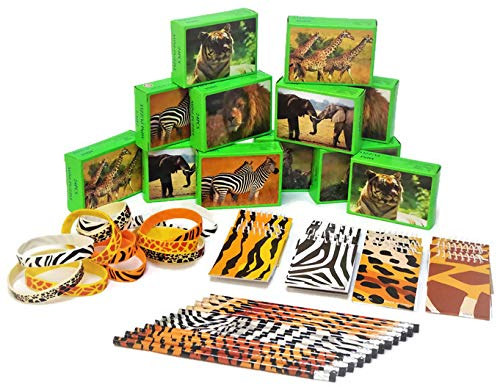 - Terra Children Animal Safari Party Favors 12 Puzzles, 12 Pencils, 12 Notebooks, 12 Bracelets