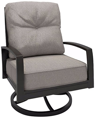 Ashley Furniture Signature Design - Castle Island Outdoor Swivel Lounge Chair with Cushion - Rust-Proof - Dark Brown & Gray (Ashley Outdoor Furniture)