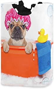 RunningBear Laundry Basket Washing Clothes Hamper - French Bulldog Yellow Duck Collapsible Laundry Hamper Large Capacity Dirty Clothes Basket for Bathroom, Bedroom