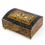 Handcrafted 30 Note Dome-Top Arabesque Inlay with Rosewood Border Music Jewelry Box - Can't Help Falling in Love