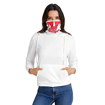 47bf57c020 Red Ta Women s Hoodie with Skull Printed Mask