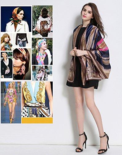 K-ELewon Silk Scarf Fashion Scarves Long Lightweight Sunscreen Shawls for Women SK063(Blue)