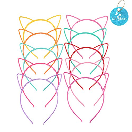 Carykon 20PCS Cat Ear Headbands Hairbands Makeup Party Costume Daily Decorations Multicolor Headwear for Women Girls DIY (Cat) ()