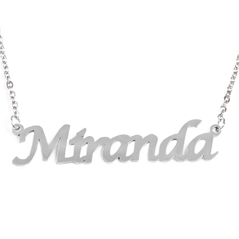 Zacria Miranda Name Necklace Silver Tone