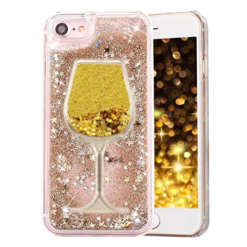 Glitter Bling Hearts Flowing Liquid Heart Clear Hard Case for iPhone 8 Plus