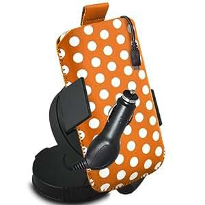 ONX3 Huawei Ascend P6S Leather Slip protectora Polka PU de cordón en la bolsa con el caso de Quick Release, 360 Rotación del parabrisas del coche y cuna 12v Micro USB cargador de coche (naranja y negro)