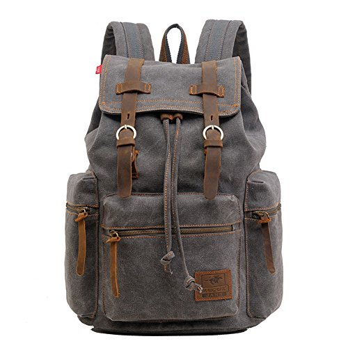 Canvas Backpack, P.KU.VDSL-AUGUR SERIES Vintage Canvas Leather