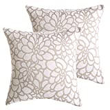 Cheap ALBAD Throw Pillow Cover 18 x 18 Inch Sets of 2 White Decorative Square Pillow Covers 100% Cotton Decorative Square Cushion Case Sofa Durable Modern Stylish