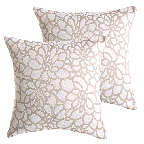 ALBAD Throw Pillow Cover 18 x 18 Inch Sets of 2 White Decorative Square Pillow Covers 100% Cotton Decorative Square Cushion Case Sofa Durable Modern Stylish