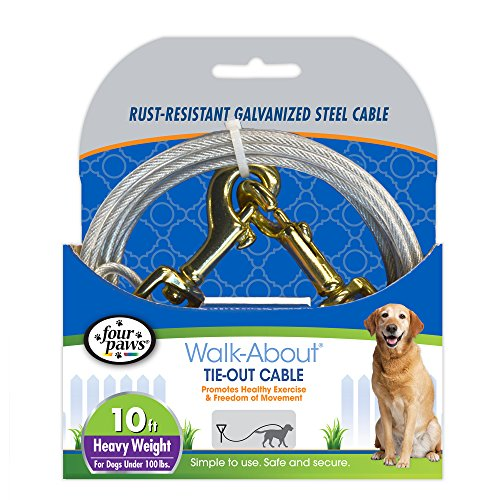 (Four Paws Heavy Duty Dog Cable, 10-Foot Large Dog Tie Out Cable,)