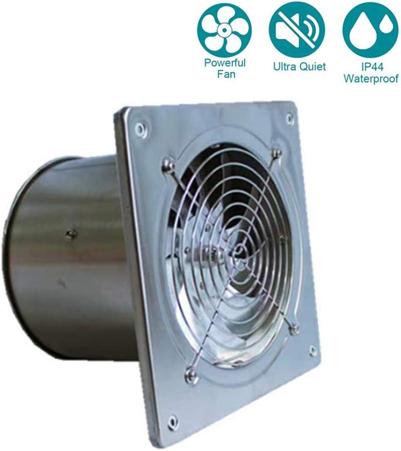 Ventilador Extractor de Aire en Línea Acero Inoxidable/Motor de Dos-velocidades Silencioso Potente para Oficina, Hotel, Baño, Cocina (ø190mm*190mm)