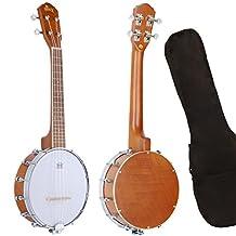 Clip Coupon Save 20 ~ Banjo Uke Ukulele Banjolele WINZZ Okoume 24 Inches 4 Strings Natural Gloss with Padding Bag