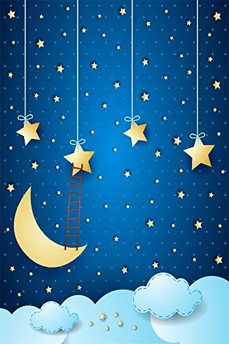 OFILA Twinkle Twinkle Little Stars Backdrop 3x5ft Cartoon Moon Stars Photography Background Kids Birthday Portraits Baby Shower Shoots Children Room Wallpaper Girls Boys Party Decoration Props