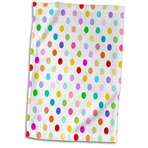 3D Rose Rainbow Multicolored Polka Dots on White - Colorful Cute and Girly Pattern TWL_56681_1 Towel, 15
